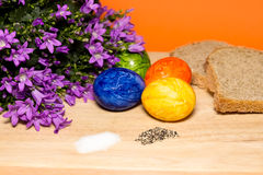 Easter. Eggs with salt,pepper,bread and blue bells Royalty Free Stock Photo
