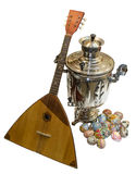 Easter eggs samovar balalaika Royalty Free Stock Photos