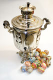 Easter eggs and samovar Royalty Free Stock Photo