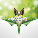 Easter Eggs 2 Scrolled Corners Frohe Ostern Royalty Free Stock Images
