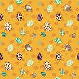 Easter eggs seamless design pattern yellow. Easter eggs seamless design pattern white yellow Stock Image
