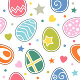 Easter Eggs Seamless Pattern. An abstract seamless pattern with colourful retro Easter eggs on white background. Useful also as design element for texture stock illustration