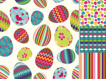 Easter eggs seamless pattern set Royalty Free Stock Photography
