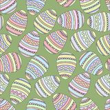 Easter eggs seamless pattern with outlines. Easter eggs seamless pattern. Vector illustration with outlines on green background Stock Photo