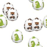 Easter eggs seamless pattern on white Royalty Free Stock Photos