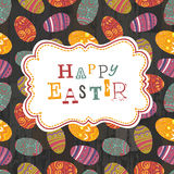 Easter eggs seamless pattern on wooden planks Royalty Free Stock Photo