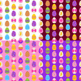 Easter eggs seamless patterns set Royalty Free Stock Photo