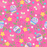 Easter Eggs Seamless Repeat Pattern. Vector Background Illustration Stock Image