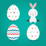 Easter eggs set collection and bunny on turquoise background, vector illustration. Easter eggs set collection and bunny in hole on turquoise background, vector stock illustration