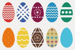 Easter eggs set. Collection of religious holiday attribute. Vector. Stock Image