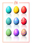 Easter eggs set. Set of color eggs. Realistic vector illustration. Easter collection royalty free illustration