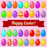 Easter eggs. Set of colorful isolated Easter eggs with banner Stock Images