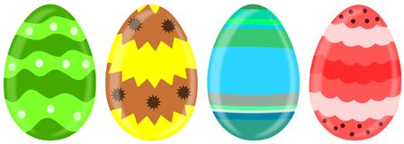 Colorful Easter eggs isolated Royalty Free Stock Images