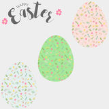 Easter eggs, set of Easter eggs with floral pattern. Royalty Free Stock Photography