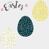 Easter eggs, set of Easter eggs with floral pattern. Stock Photos