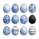 Easter eggs set. Realistic image isolated on white background. Flower, geometric and marble patterns. Blue, black and white color. Vector illustration art Royalty Free Stock Image