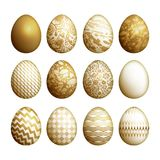 Easter eggs set. Realistic image isolated on white background. Flower, geometric and marble patterns. Gold foil print. Vector illustration art Royalty Free Stock Photos