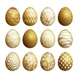 Easter eggs set. Realistic image isolated on white background. Flower, geometric and marble patterns. Gold foil print. Vector illustration art Royalty Free Stock Photo