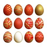 Easter eggs set. Realistic image isolated on white background. Flower, geometric and marble patterns. Gold foil, red and white color. Vector illustration art Royalty Free Stock Photo