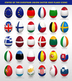 Easter eggs set with EU flags. Easter eggs set with European Union states flags vector icons collection 28 easter eggs icons Royalty Free Stock Photos