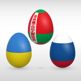 Easter eggs set flags colors. Easter eggs set with Eastern Europe states flags images vector icons collections easter eggs with Russia, Ukraine, Belarus flags Royalty Free Stock Images