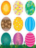 Easter Eggs Set_eps. Illustration of 9 Easter eggs with grass and wildflower on white background Royalty Free Stock Photography