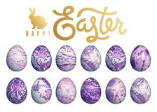 Marble easter eggs set. Easter eggs set isolated on white background, lettering `Happy Easter` and silhouette of Easter bunny. Flower, geometric and marble Stock Image
