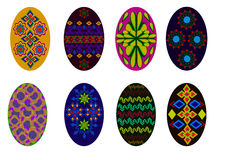 Easter eggs. Set of painted Easter eggs, multicolored geometric patterns in different combinations Royalty Free Stock Images