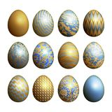 Easter eggs set. Realistic image isolated on white background. Flower, geometric and marble patterns. Blue, gold foil and white color. Vector illustration art Stock Photo