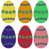 Easter eggs. Set of six pieces with a pattern Royalty Free Stock Photo
