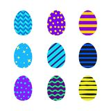 Easter eggs set. Vivid colors stripes and spots Royalty Free Stock Photos