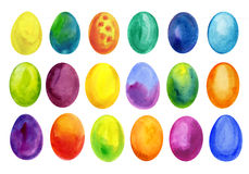 Easter eggs set watercolor template for design. Watercolour illustration for Easter holidays design on white background. Stock Images