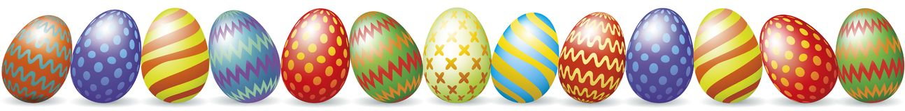 Easter eggs with shadow. Colorful Easter eggs with shadow isolated on white royalty free illustration