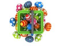 Easter Eggs in shopping basket Stock Image