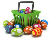 Easter Eggs in shopping basket Royalty Free Stock Images