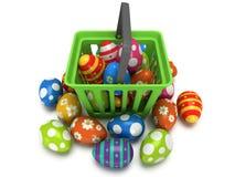 Easter Eggs in shopping basket Stock Photos