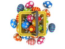 Easter Eggs in shopping basket Stock Images