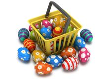 Easter Eggs in shopping basket Royalty Free Stock Photos