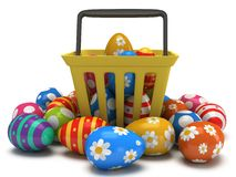 Easter Eggs in shopping basket Stock Photo