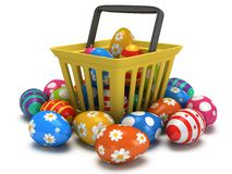 Easter Eggs in shopping basket Royalty Free Stock Photography