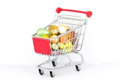 Easter eggs in the shopping-cart Stock Photo