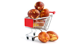 Easter eggs in shopping  trolley Royalty Free Stock Photography