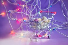 Easter eggs in a shopping trolley Royalty Free Stock Photo