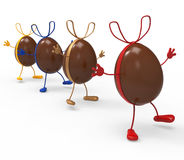 Easter Eggs Shows Gift Bow And Choc Stock Photos