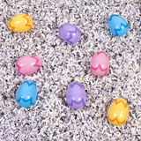 Easter Eggs and Shredded Paper Royalty Free Stock Images