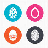 Easter eggs signs. Circles and floral patterns Stock Photos