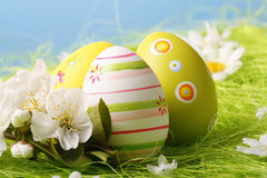 Easter Eggs sitting on grass Royalty Free Stock Images