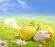 Easter Eggs sitting on grass Royalty Free Stock Photography