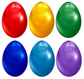 6 easter eggs. Six big easter colored eggs Royalty Free Stock Image