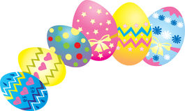 Easter eggs. Six brightly coloreddecorated Easter eggs Stock Photos